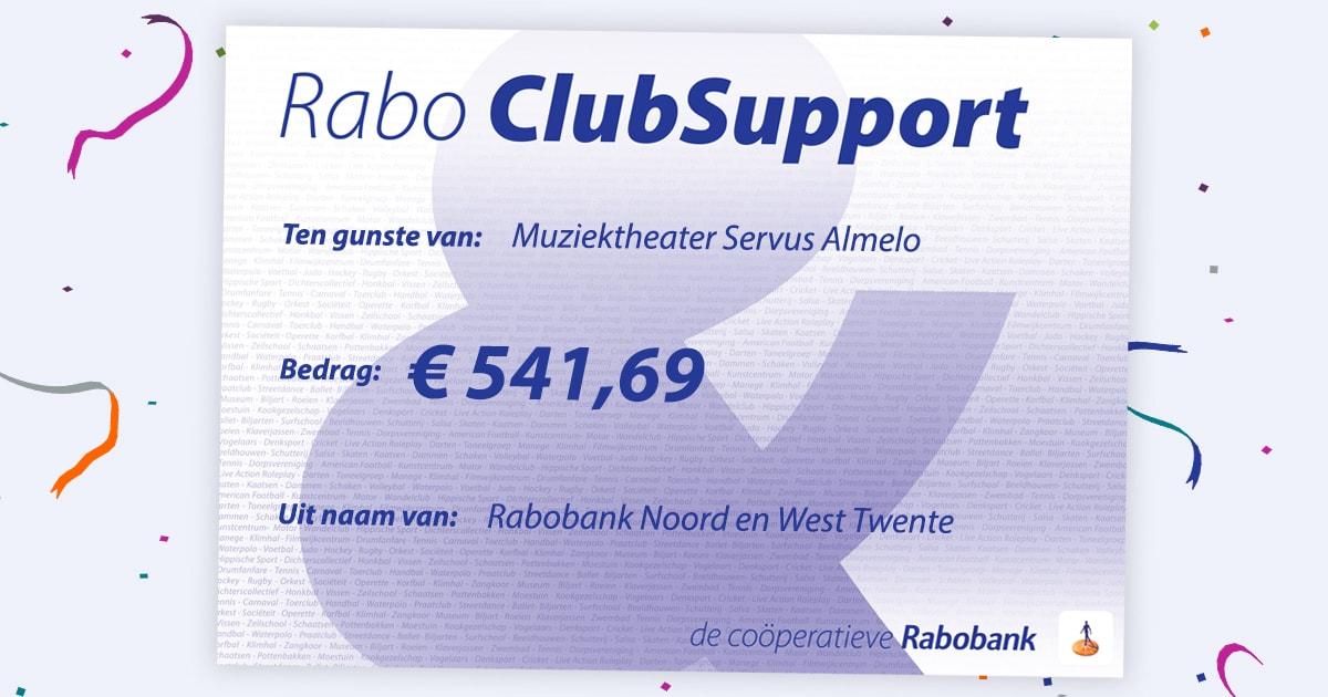 Servus ontvangt een bedrag van 541,69 van #RaboClubSupportTwenteAchterhoek